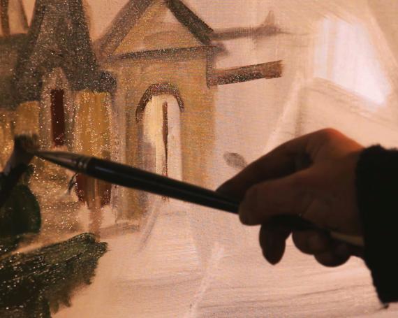 Un peintre sur le chantier